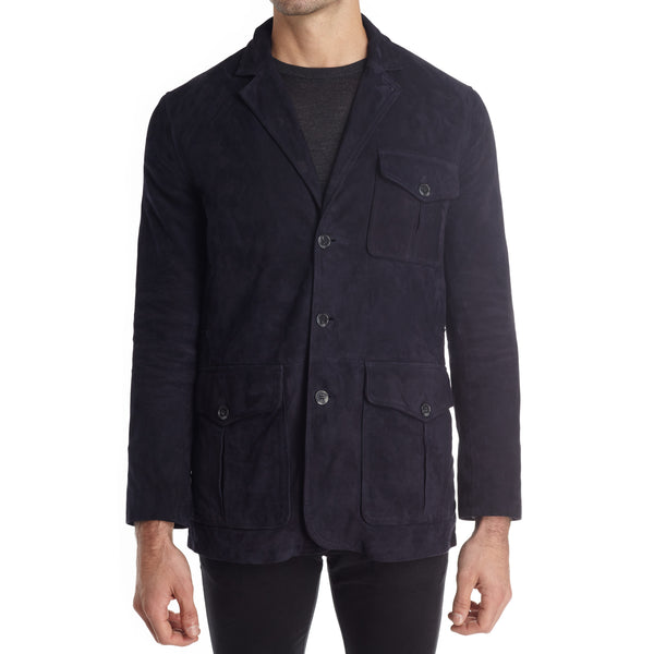 Messina Men's Suede Safari Blazer Jacket - Navy - FINAL SALE