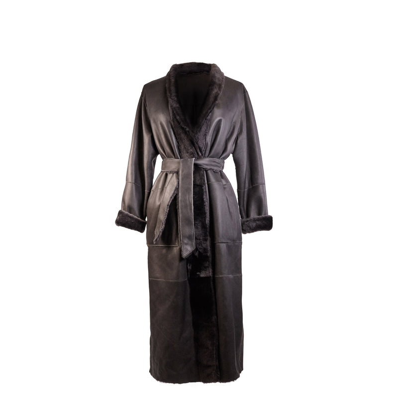 Sofia Reversible Belted Shearling Coat - Pure Grey - FINAL SALE