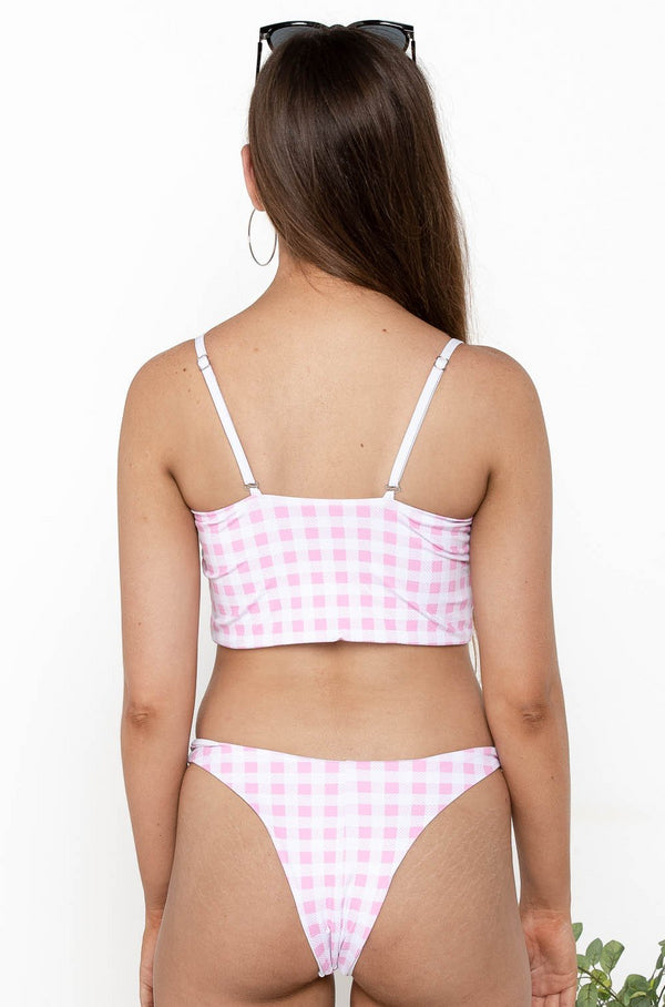 GINGHAM BANDEAU BIKINI TOP PINK - CHICKABERRY BOUTIQUE Australia Womens