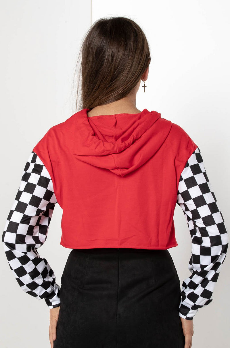 CHECKERED CHICKABERRY RACER CROPPED JACKET - CHICKABERRY BOUTIQUE Australia Womens