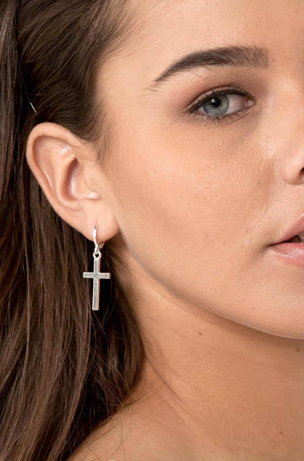 SELMA SILVER CROSS EARRINGS - CHICKABERRY BOUTIQUE Australia Womens