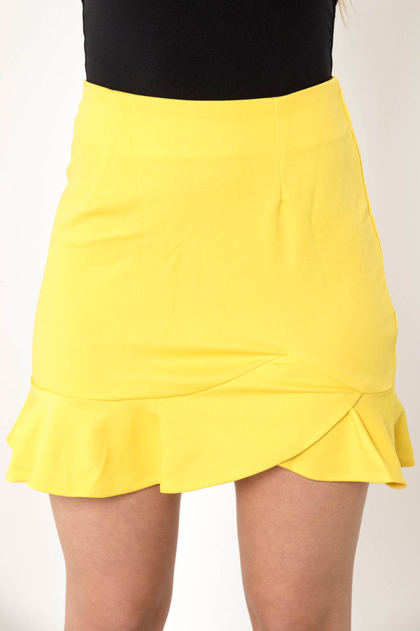 CANCELED PLANS FLARE MINI SKIRT YELLOW - CHICKABERRY BOUTIQUE Australia Womens
