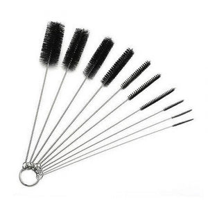Stainless Steel Rod Nylon Brush Bong Cleaning Set - 10 piece