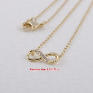 Shuangshuo Infinity Crystal Pendant  Lucky Number Eight Geometric Silver Long Chain Necklace