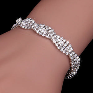 Luxury Crystal Bracelets For Women Silver Plated Rhinestone Charm Bracelets & Bangles Femme Bridal Wedding Jewelry Birthday Gift - hope2shop