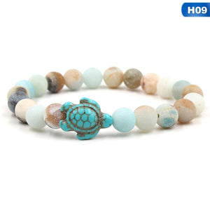 Summer Style Sea Turtle Beads Bracelets Classic 14 colors Natural Stone Elastic Friendship Bracelet