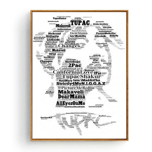 Cool Music Typography Art Print - Tupac from Gallery Wallrus | Eclectic Wall Art & Decor with Worldwide Shipping