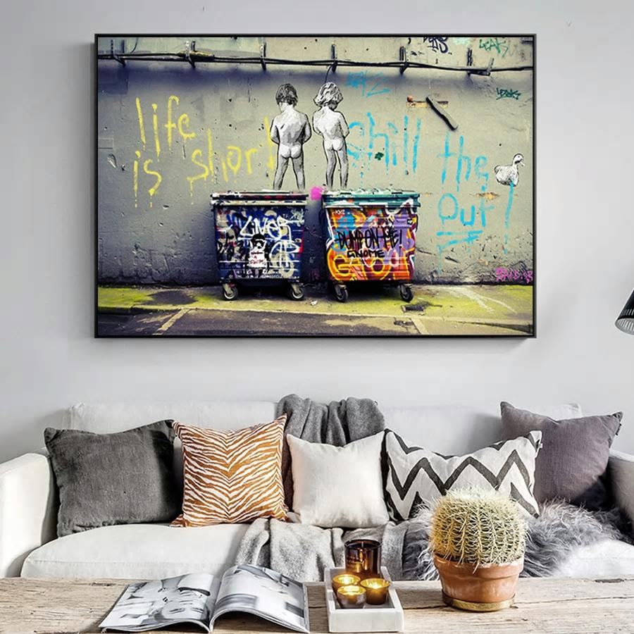 Banksy Life is Too Short from Gallery Wallrus | Eclectic Wall Art & Decor with Worldwide Shipping