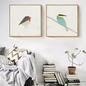 Twin Set of Nordic Geometric bird art prints from Gallery Wallrus | Eclectic Wall Art & Decor with Worldwide Shipping