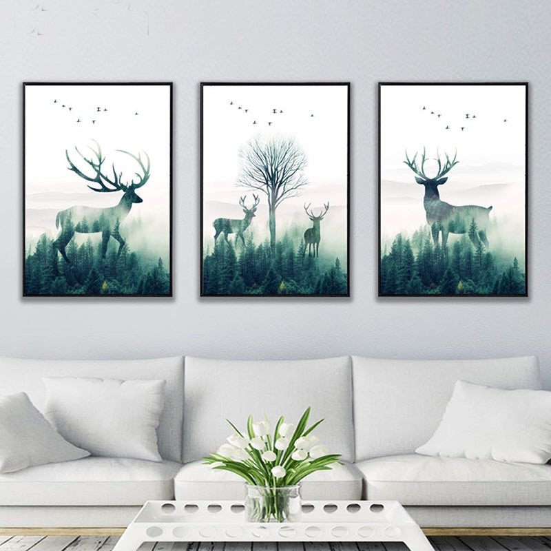 Gallery Wall Trio of Deer Silhouette Art Prints from Gallery Wallrus | Eclectic Wall Art & Decor with Worldwide Shipping