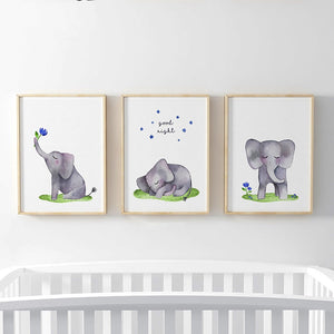 Gallery Wall Trio of Childrens Nursery Elephant Artworks from Gallery Wallrus | Eclectic Wall Art & Decor with Worldwide Shipping