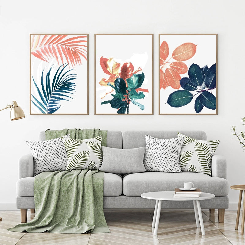 Gallery Wall Trio of Peach and Blue Plant Artworks from Gallery Wallrus | Eclectic Wall Art & Decor with Worldwide Shipping