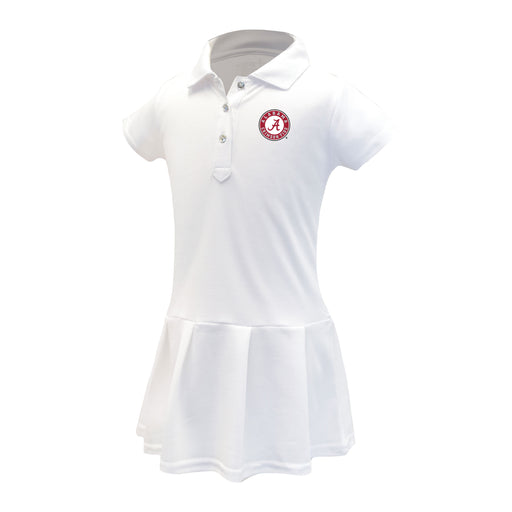 Alabama Crimson Tide Girls Infant & Toddler Celebration Short Sleeve Polo Dress - White