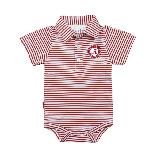 Alabama Crimson Tide Infant Striped Polo Bodysuit - Red/White