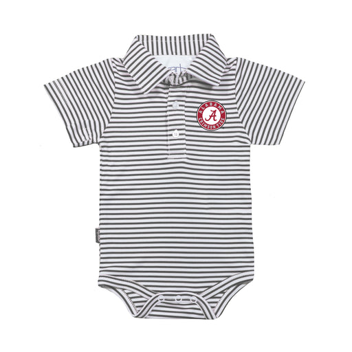 Alabama Crimson Tide Infant Striped Polo Bodysuit - Charcoal/White