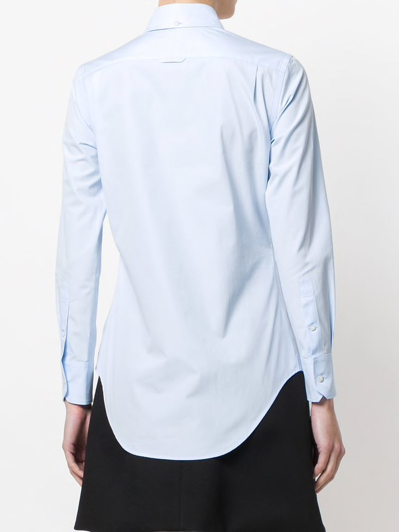 THOM BROWNE WOMEN CLASSIC LONG SLEEVE BUTTON DOWN POINT COLLAR SHIRT W/ RWB GG PLACKET IN SOLID POPLIN