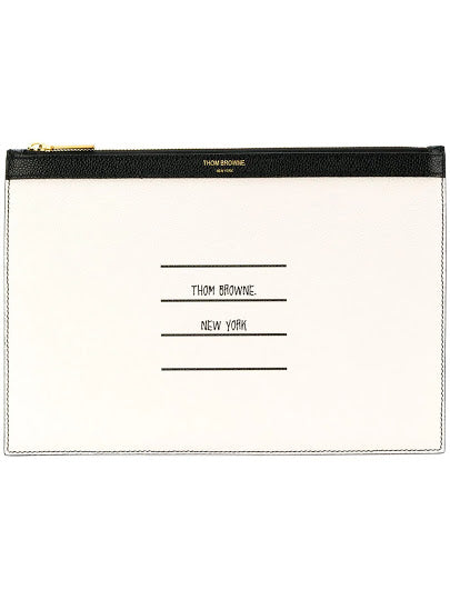 THOM BROWNE MEN SMALL ZIPPER TABLET HOLDER IN TBNY PAPER LABEL PRINTED PEBBLE GRAIN