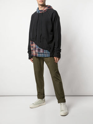 GREG LAUREN MEN 50/50 BLACK MIXED PLAID HOODIE