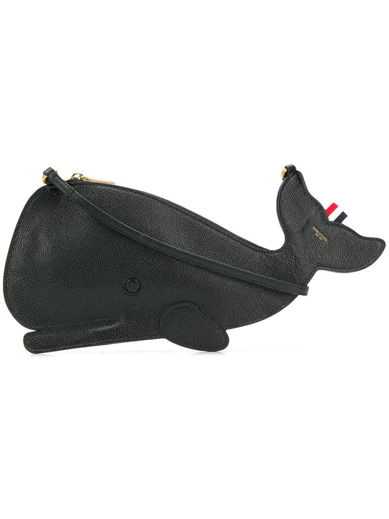 THOM BROWNE WHALE FLAT ICON CLUTCH WITH STRAP IN PEBBLE GRAIN