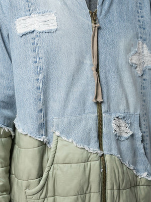 GREG LAUREN MEN 50/50 DENIM/ARMY PUFFY ZIP STUDIO JACKET