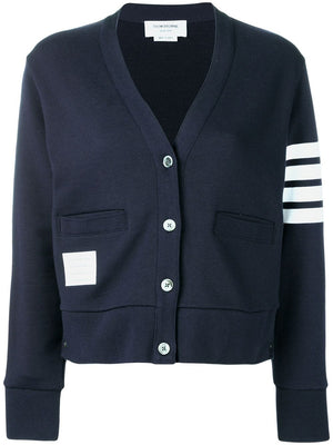 THOM BROWNE WOMEN V NECK CARDIGAN IN CLASSIC LOOP BACK W/ ENGINEERED 4 BAR