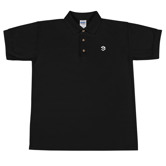 9GAG Awful black polo tee with white embroidered logo