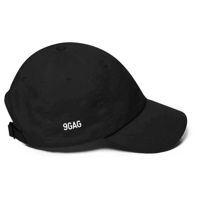 black dad hat with 9GAG logo embroidered on the right side