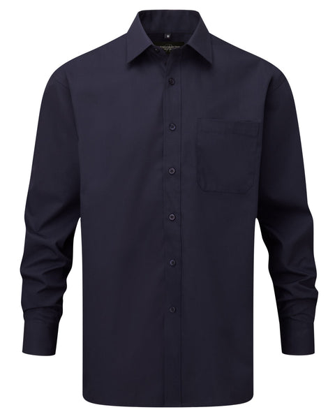 934M Russell Collection Men's Long Sleeve Polycotton Easy Care Poplin Shirt