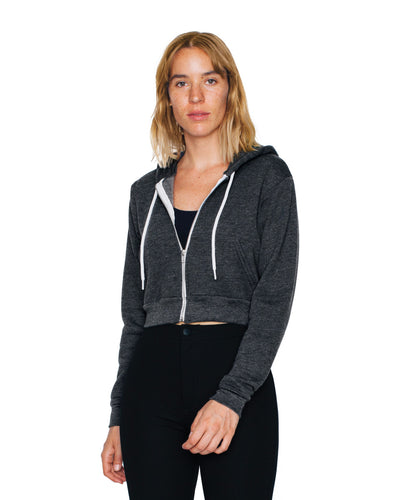F397W American Apparel Women's Flex Fleece Cropped Zip Hoodie
