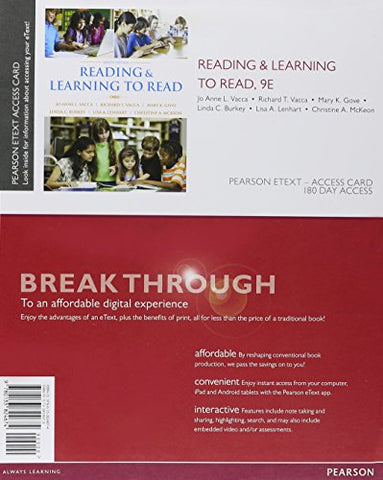Reading And Learning To Read, Enhanced Pearson Etext -- Access Card (9Th Edition)