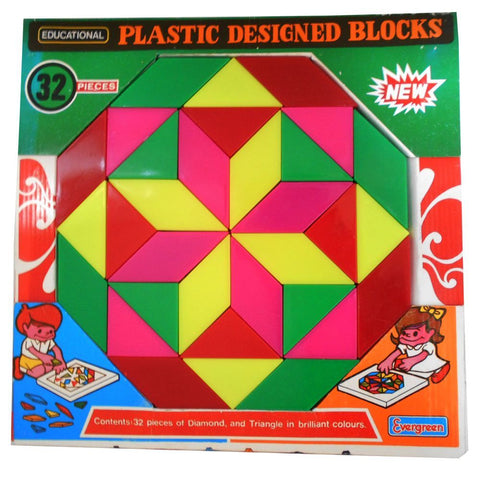 Plastic Design Blocks - Evergreen Toys