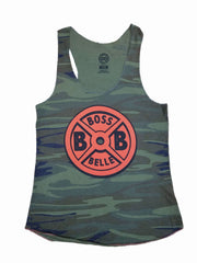 BossBelle-Camo-and-Orange-Weightplate-Racerback-Tank