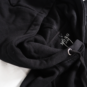 Black Embroidered Logo Hoody