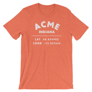 """Acme, Indiana""- Unisex Short Sleeve T-Shirt"