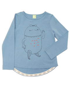 Product image of a light blue long-sleeve tee with a line drawing of a happy monster.