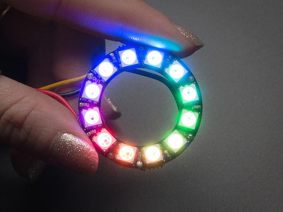Adafruit NeoPixel Ring (12 RGB LED) WS2812 5050 RGB LED with Integrated Drivers