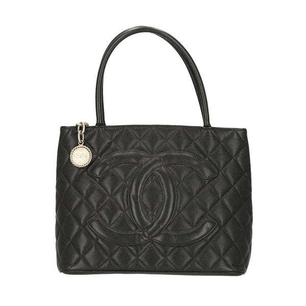 Chanel Black Caviar Leather Medallion SHW Shoulder Bag