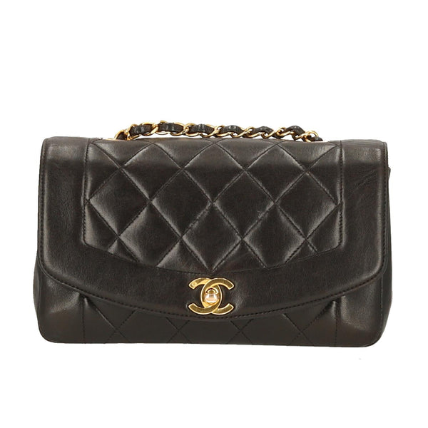 Chanel Black Lambskin Leather Diana Single Flap GHW Shoulder Bag