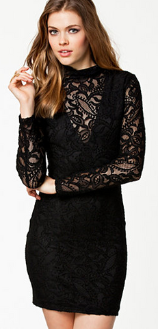 PEARL - Collared Lace Dress Black - Designer Dress hire