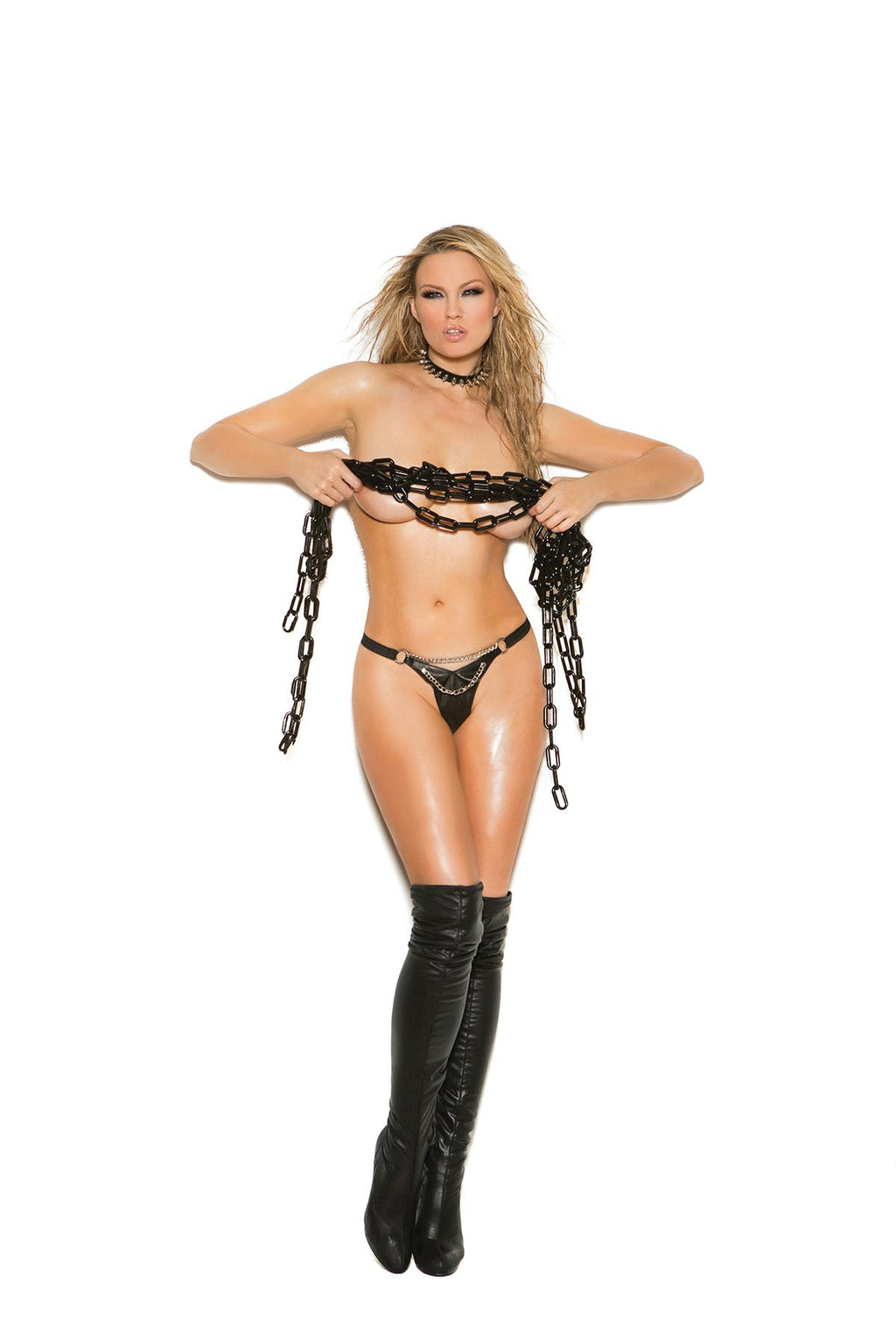 Leather g-string with rivets and side buckle closure. *Available Boxed