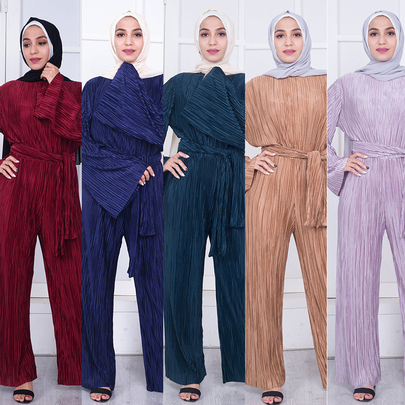 Striped Wide Leg Jumpsuit - Hifza Apparel