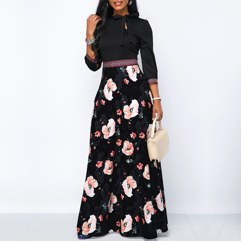 Bohemia Floral Print Ethnic  Maxi Dress - Hifza Apparel