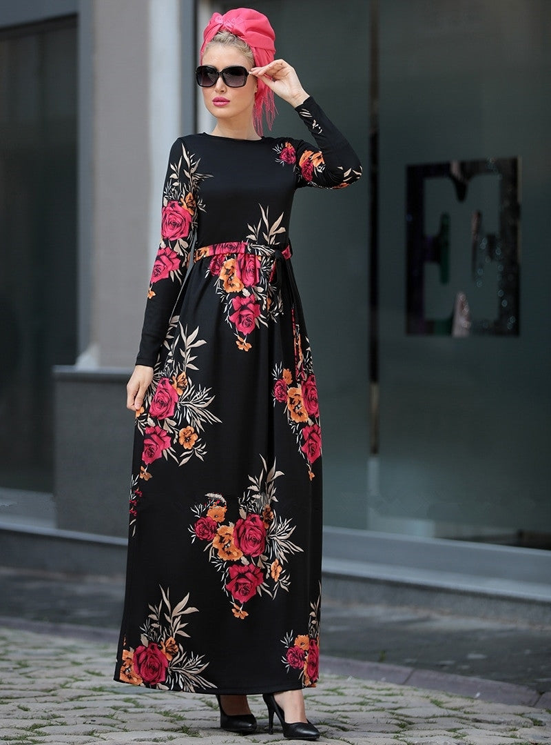 Black Printed Floral Dress - Hifza Apparel