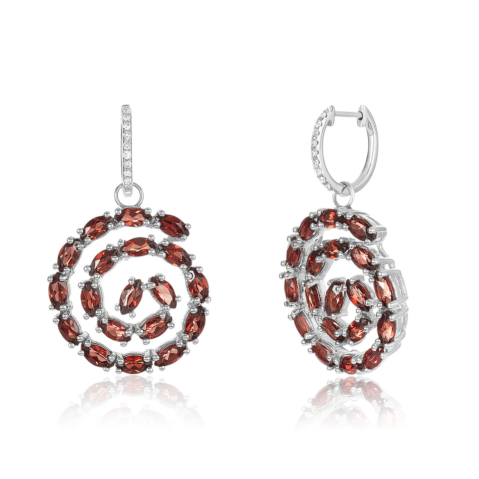 Squirl Garnet & Diamond Earring