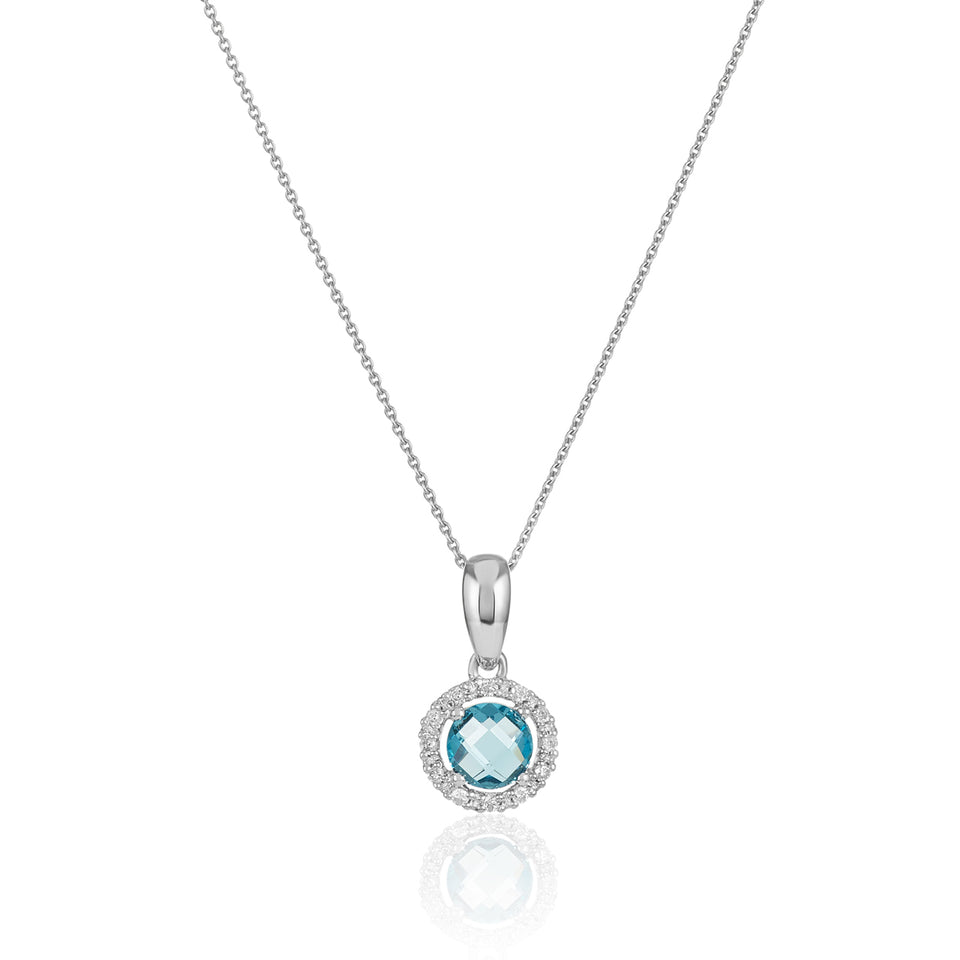 Blue Topaz  & Diamond Birthstone Pendant ~ December Birthstone