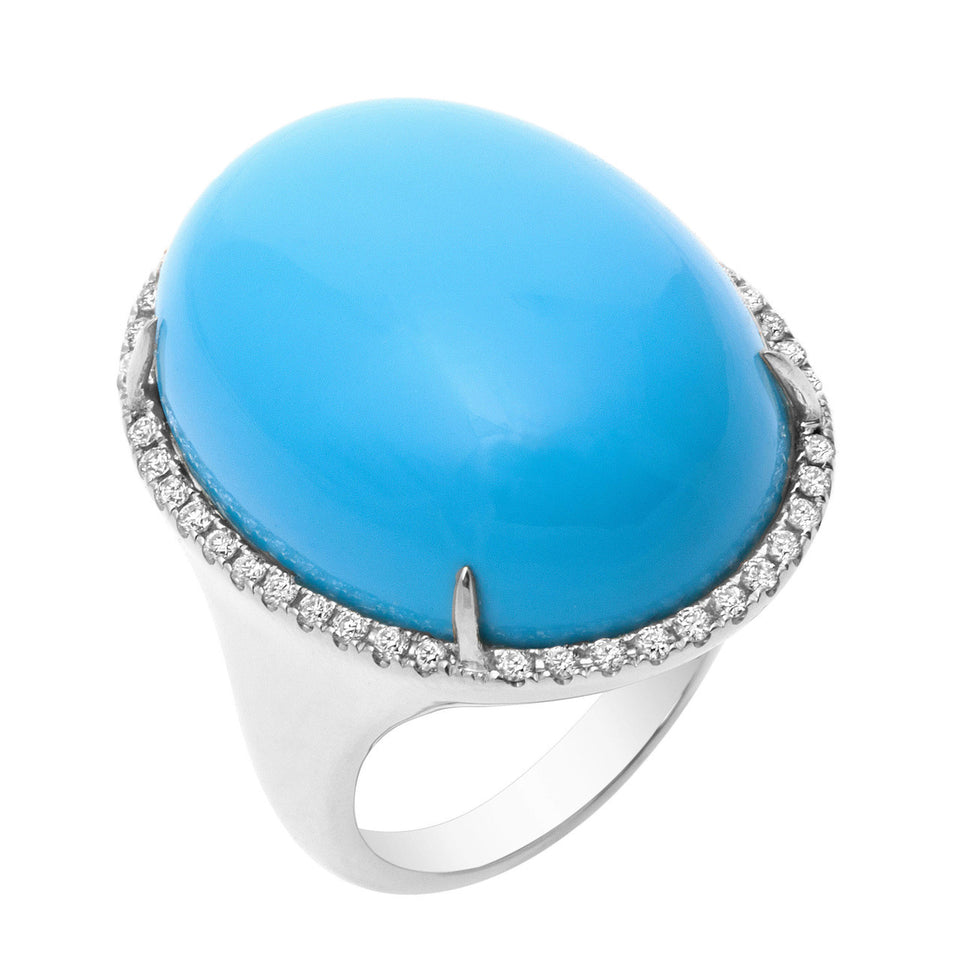Turquoise Cabochon Coral & Diamond Ring