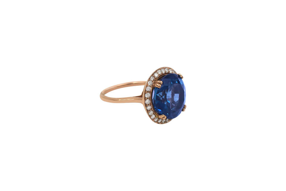 Round London Blue Topaz & Diamond Ring