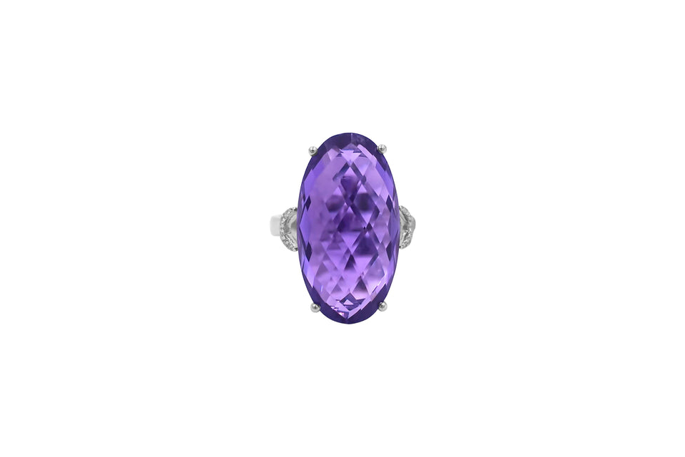 Oval Amethyst & Diamond Ring