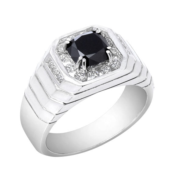 18kt  Square Black Diamond Ring