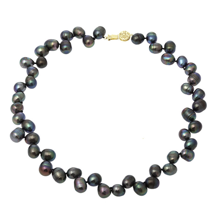 Pear Shape Black Pearl Necklace